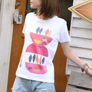 Printed Colorful Motif T-shirt - White x Red type - women's / men's / unisex