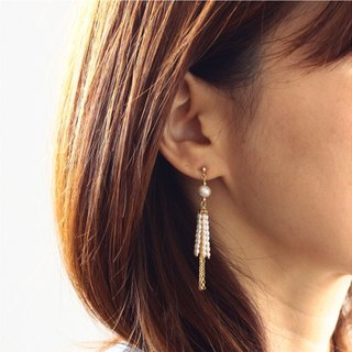 [Pierce] 14KGF + freshwater pearl fringe design earrings / FringePr01