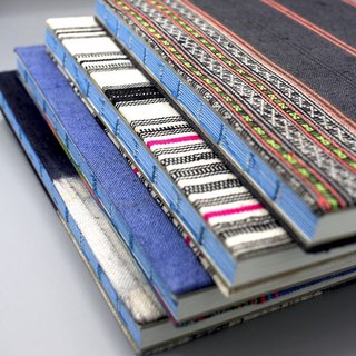 Handmade lined journal-notebook with Hmong hill-tribe fabric cover A5 size in dark grey with neon stripes (NB0002)