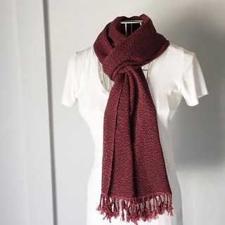 "Unisex hand-woven scarf ""Wine red with White dots"""