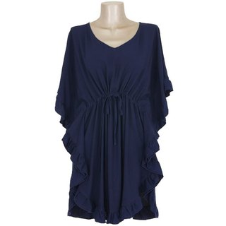 Butterfly sleeve ruffle dress <navy>