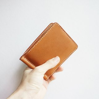 Men's Money Clip Wallet made of Extra Soft Vegetable-tanned Cow Leather in Tan