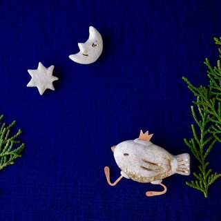 福袋 - a bird posing as a king walking in the night /3broach set(bird broach, moon broach, star broach)