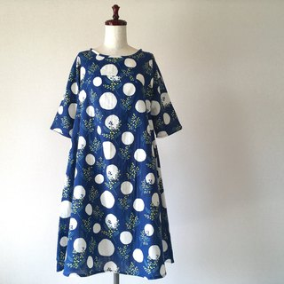Mimosa pattern flare dress dress flower navy