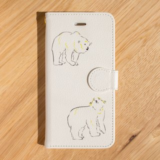 "【IPhone / Android compatible】 ""3 beaked polar bear"" notebook type smartphone case"