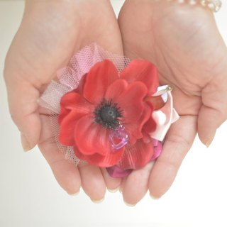 Baum Flower Hairpin Red