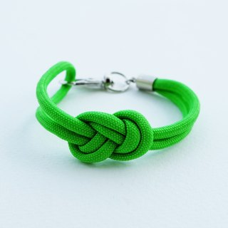 Paracord infinity-knot with metal clip bracelet in NEON GREEN