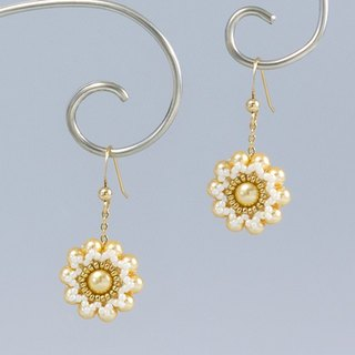 Yellow pearl flower earrings, bridesmaid jewelry, gift, 150-338