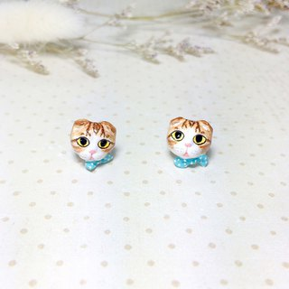 Scottish fold cat earrings, Cat Stud Earrings, cat lover gifts