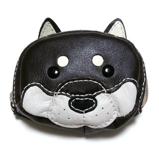 Marie / Mary leather made leather coin case / accessory case / Black Shiba Inu