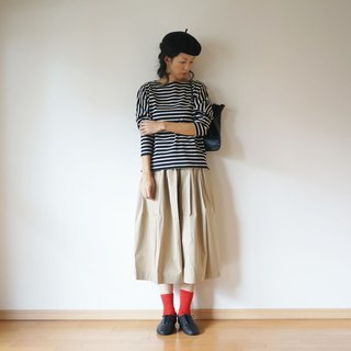 Cotton Border drop shoulder ladies BLACK × BEIGE