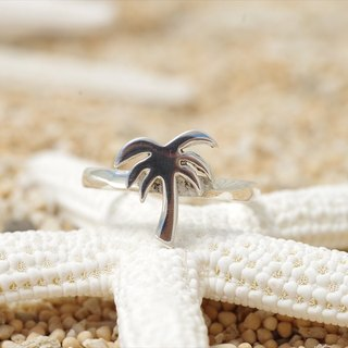 Tree silver ring of palm