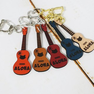 Genuine leather ukulele cat-chan key ring / gourd design