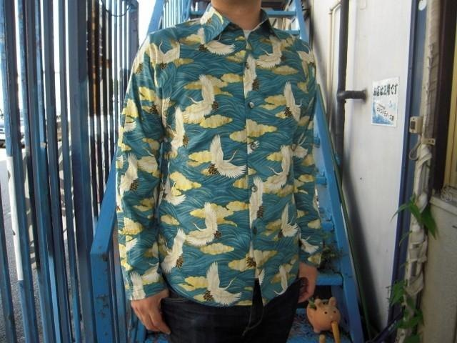 Long-sleeved shirt Japanese Pattern (clouds and crane to wave pattern)
