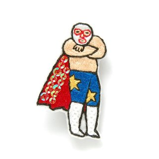 Creating orders Wonderful cloaked masked wrestler embroidery brooch