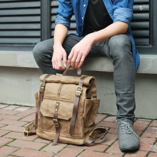 GENUINE LEATHER & WAXED CANVAS UNISEX ROLL TOP RUCKSACK BACKPACK
