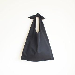 ribbon tote bag : black