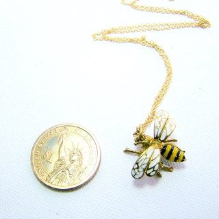 Bee pendant in brass and enamel color ,Rocker jewelry ,Skull jewelry,Biker jewelry