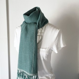 "Unisex hand-woven scarf ""Emerald green with White lines"""