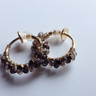Smoky Quartz + Antique Beads Hoop Earrings Ear In