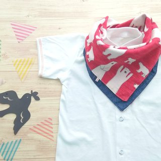 Baby Bib, 口水巾, Reversible, Baby Scarf Bib, Polar Bear Red  Denim, Japanese Fa