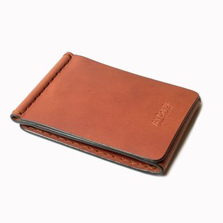 Z Wallet Money Clip Bi-fold V.3.1 Vegetable Saddle Brown Color Hand-cut