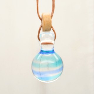 Bee-dama, Glass Marble, light blue, Aqua drop of glass pendant