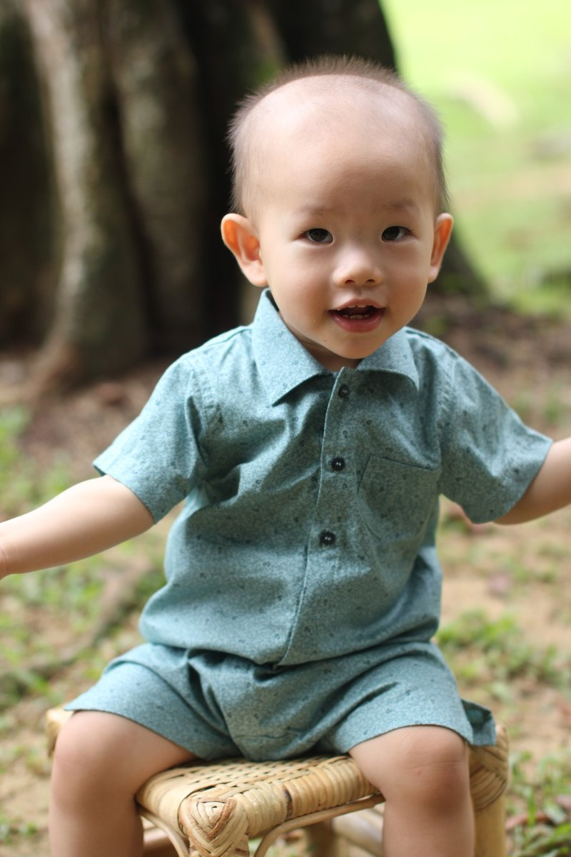 Baby boy aqua green cotton romper