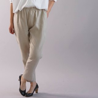 wafu   linen pants / tapered / elastic band / long length / with pockets /bo1-46
