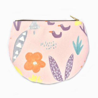 Coin Pouch Cute Half Moon Zip Bag - Park Scene Drawing/Abstract Grassland