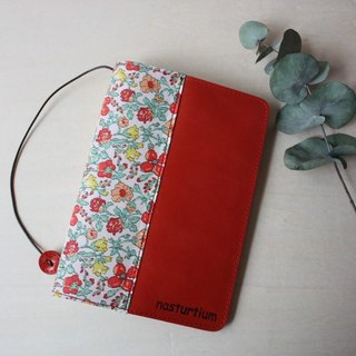 Leather × Liberty print book cover (paperback size) Red