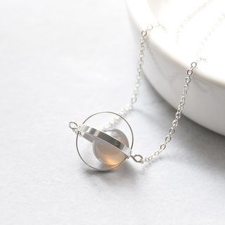 armei 银环。灰玛瑙。温柔星球。宇宙 项链 Sliver Ring。Agate Gray 。Tender Planet。Galaxy Necklace
