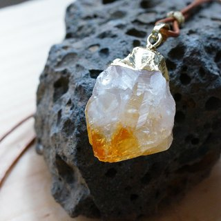 黄晶原石皮绳颈链 ( Citrine Raw Stone Leather Necklace )