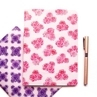 Set of Two A5 Notebooks with Floral Pattern – Dot Grid Journal & Lined Notebook
