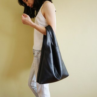 Black Soft Leather Hobo Bag with Tassel / Leather Tote