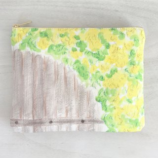 Joy Flowery Flat Pouch Yellow