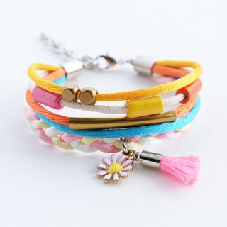 Colorful boho summer multilayer bracelet with flower and tassel charms