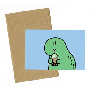 Dinosaur Bubble Milk Tea Card with envelope
