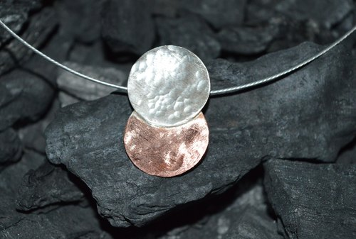 sterling silver and copper pendant - handmade