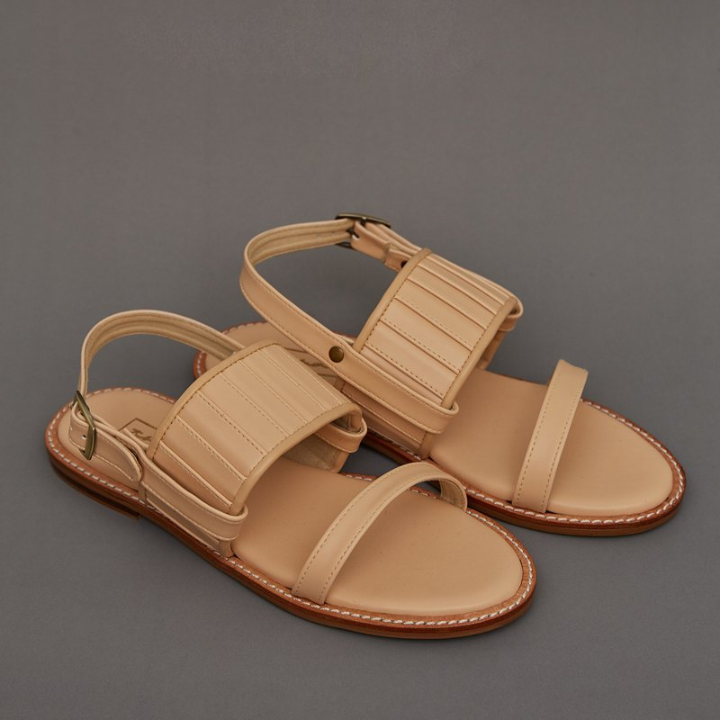 Pleated 2in1 Sandals - Nude