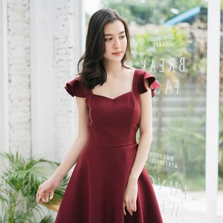party Dress Dark Maroon Dress Prom Dress Bridesmaid Dress Ruffle Summer Elegant