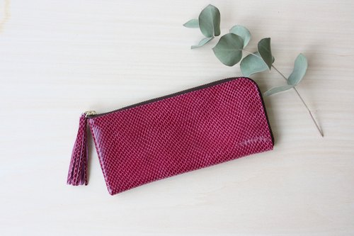 【Quantity Limited】 Slim long wallet of goat leather L-shaped pink