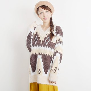 Colorful native pattern knit pullover