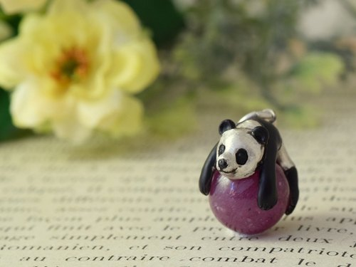 Happy panda ball pendant ruby ​​leather straps Necklace