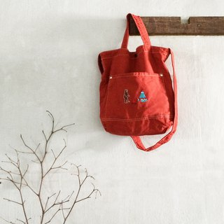 Camping with a Bear Embroidery - Canvas Crossbody Bag: Red