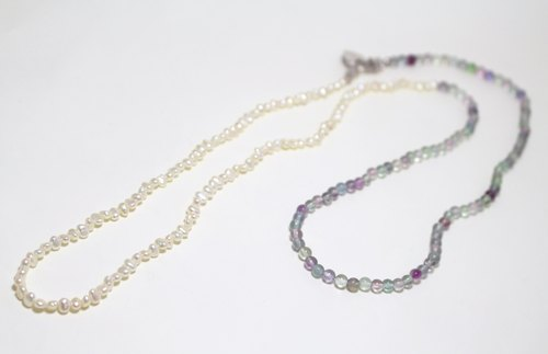 Long necklace of freshwater pearls and fluorite