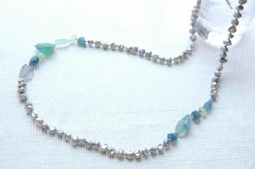 Long necklace of fluorite and Silver Pearl