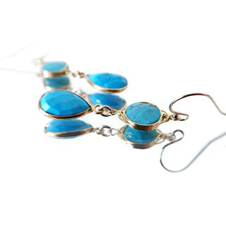 14KGF / TURQUOISE COMBINATION EARRINGS