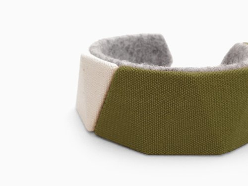 Unique canvas bracelet, Kawaii delta bangle, 3D print, 3D printing, 3D printed, Gift for women, felt natural unbleached 【Khaki】