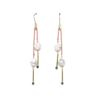 marble drop bead earrings / earrings